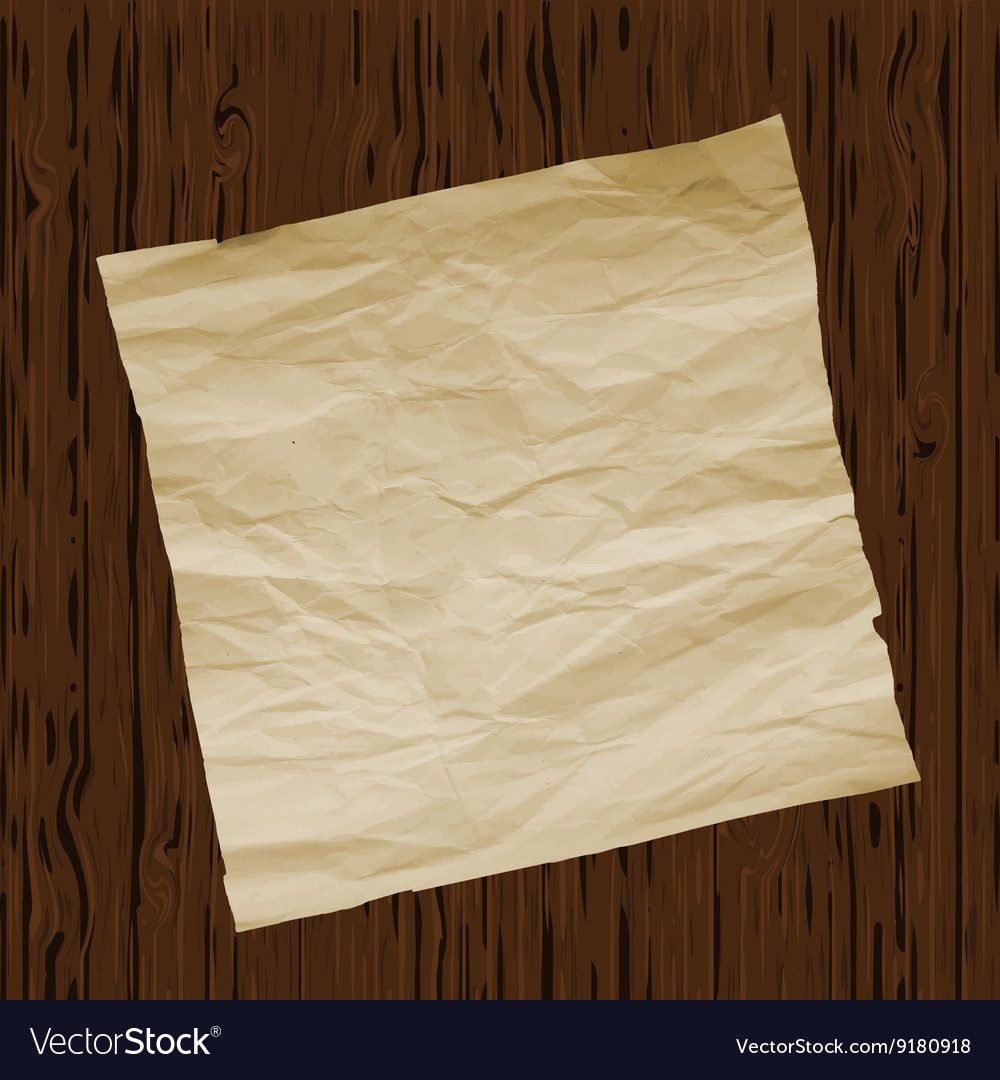 Piece of old paper on wooden texture background vector
