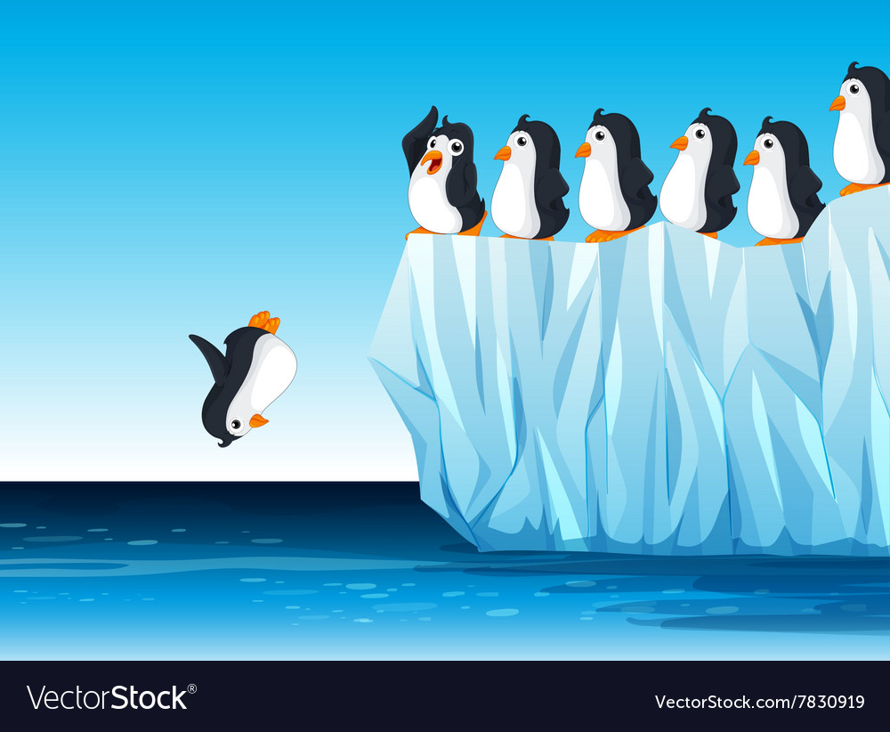Penguin jumping in the ocean vector
