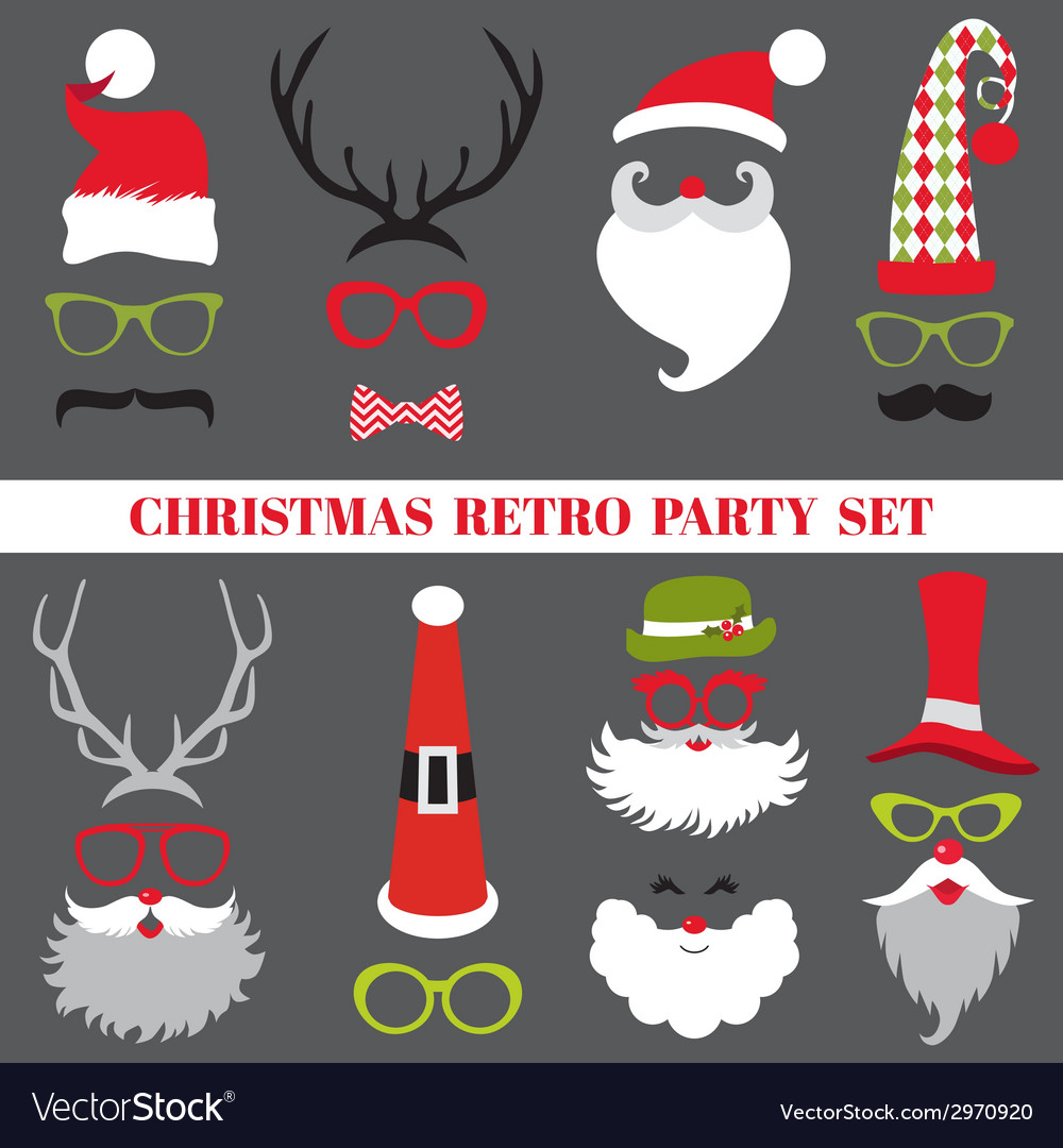 Christmas retro party set  glasses hats lips vector