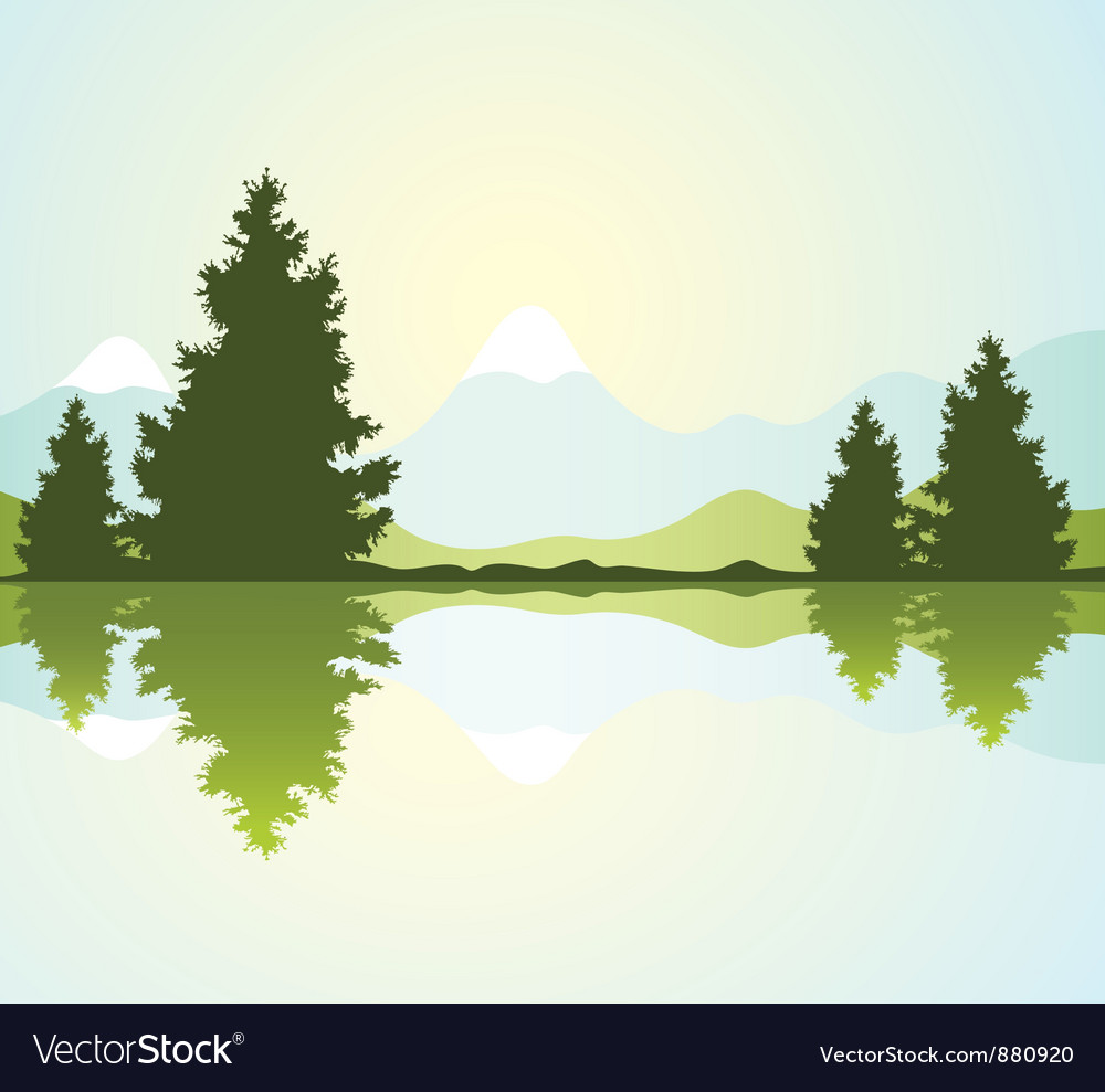 Furtrees with reflection in water and mountains vector