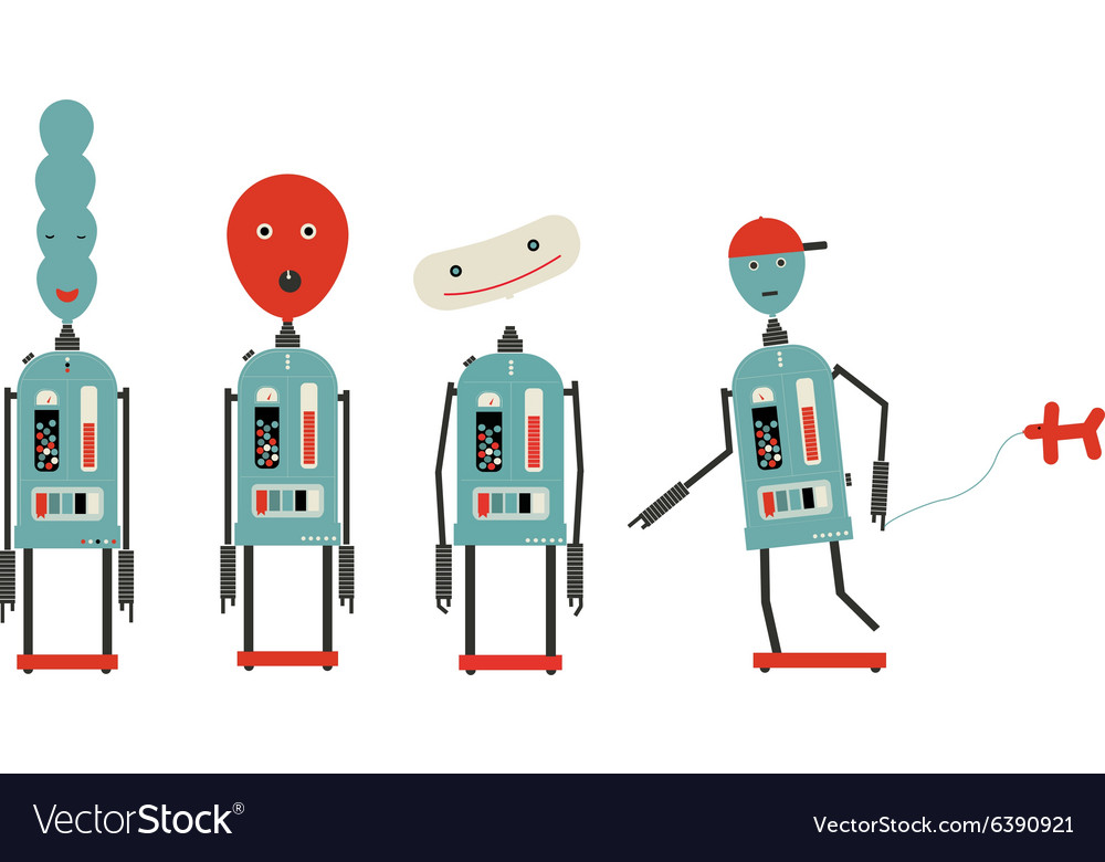 Four baloon head robots vector