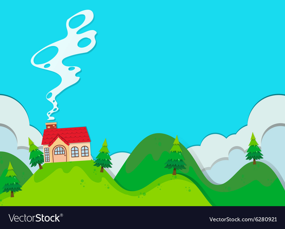 Small house on the hill vector
