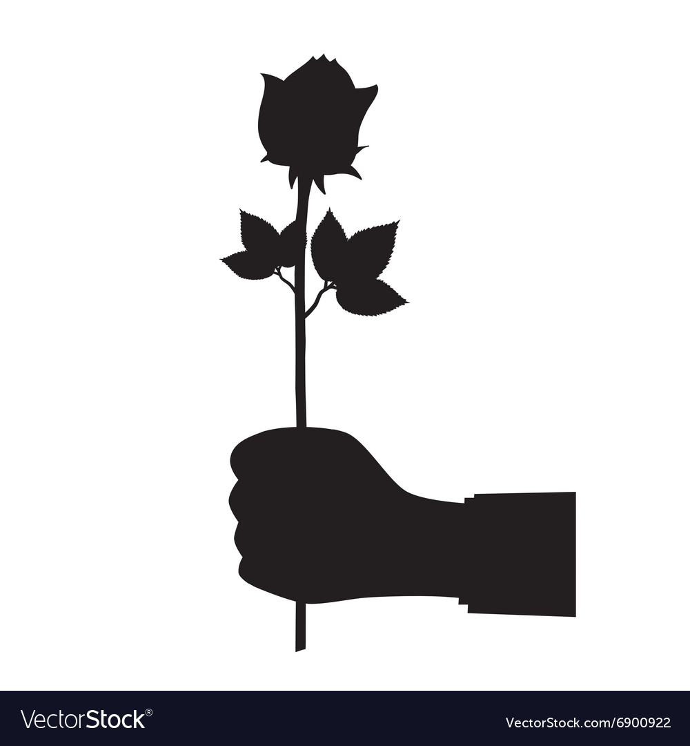 Black silhouette of a hand with a flower vector