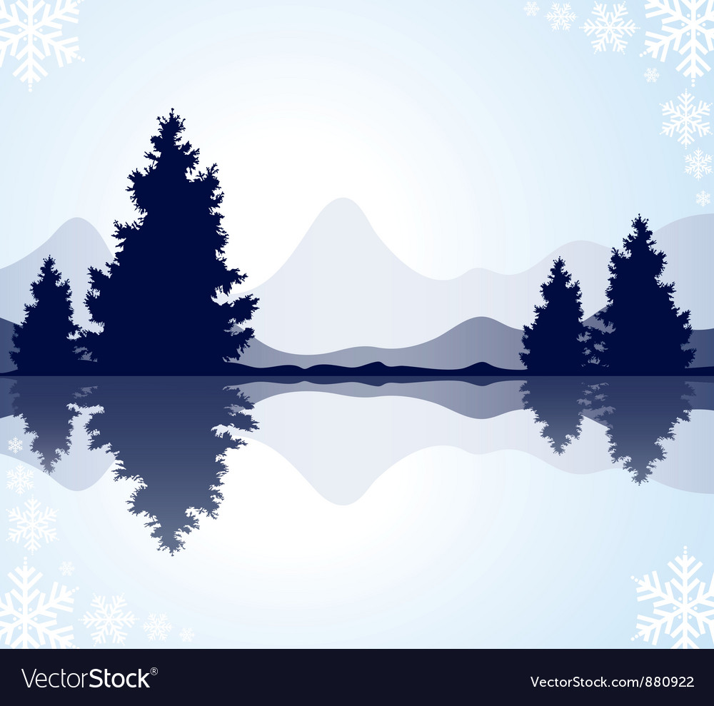 Furtrees with reflection in frozen water and moun vector