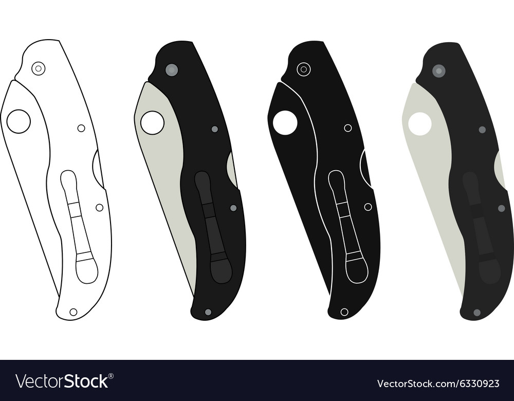 Closed pocket knifes icons vector