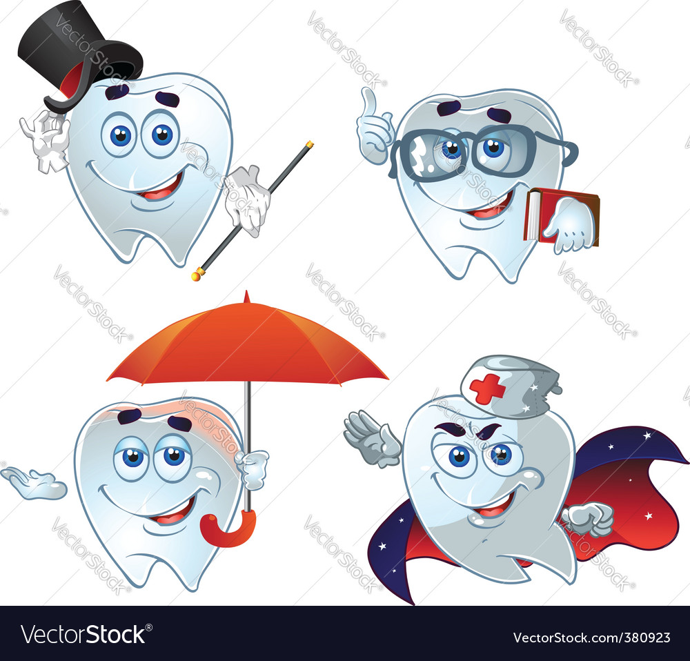 Teeth cartoon characters vector