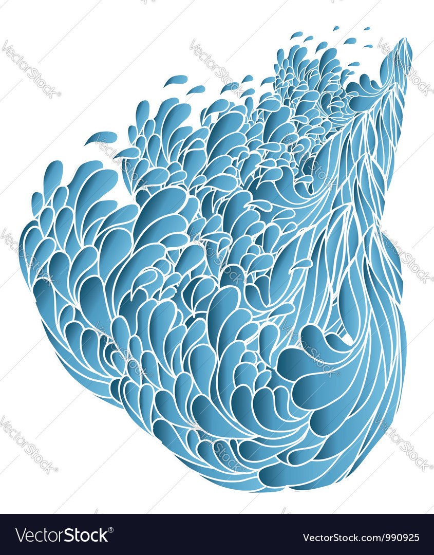 Blue wavespainted image isolated on white vector