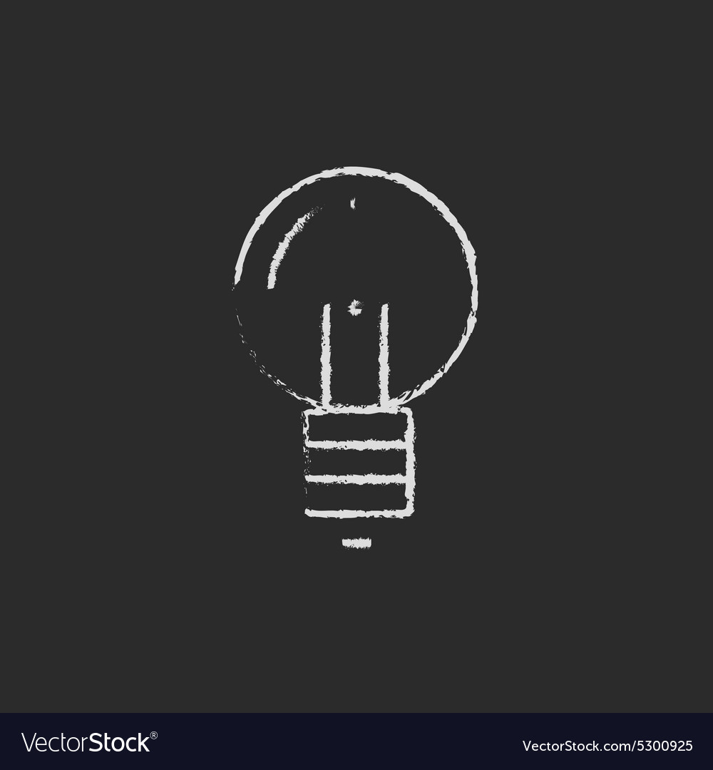 Light bulb drawn in chalk vector