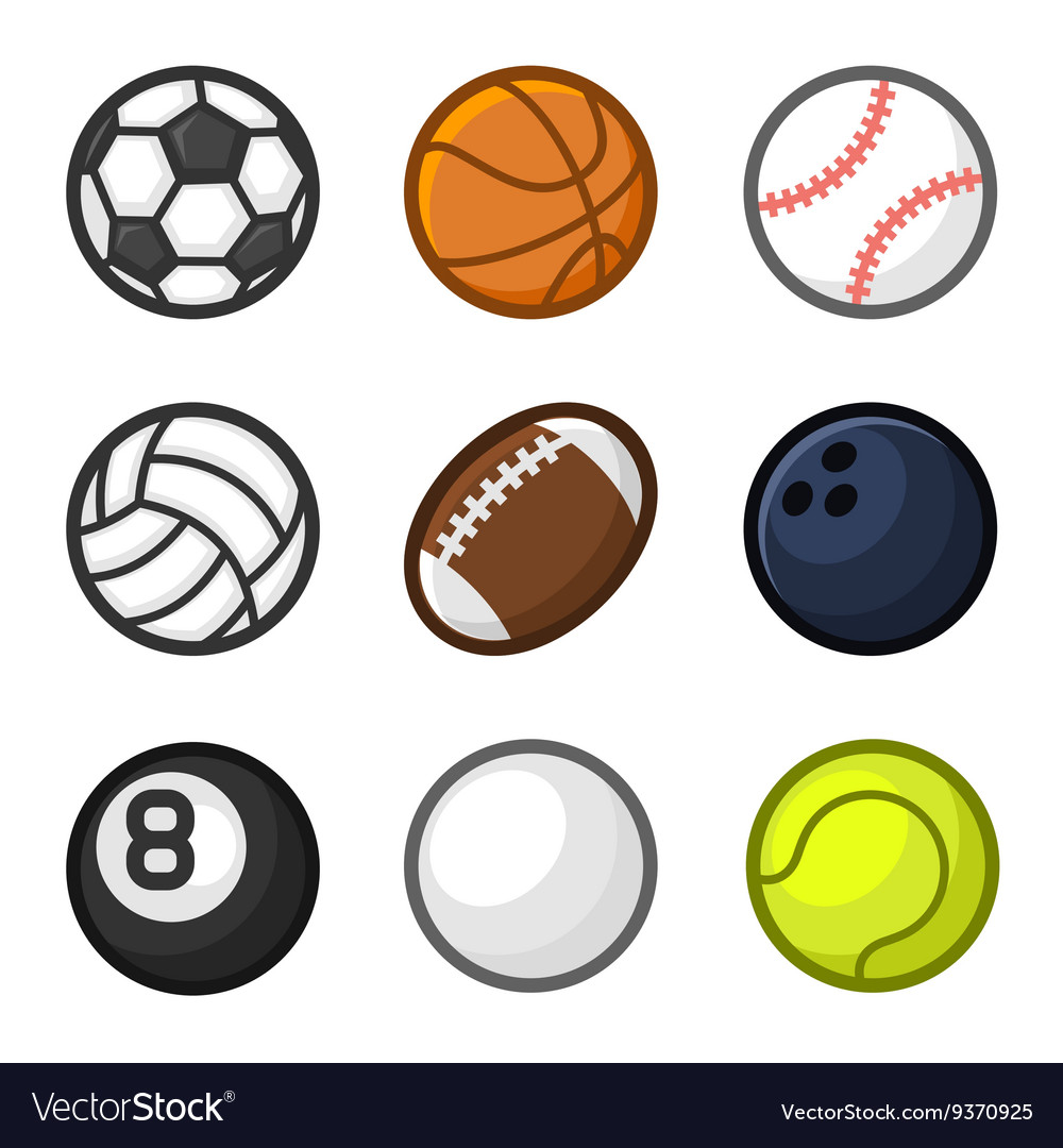 Sport balls cartoon style set on white background vector