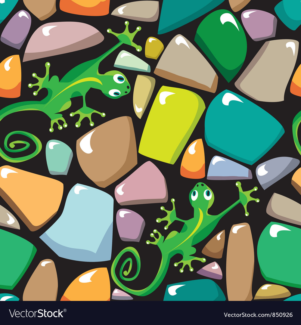 Seamless texture of stonewall with lizards vector