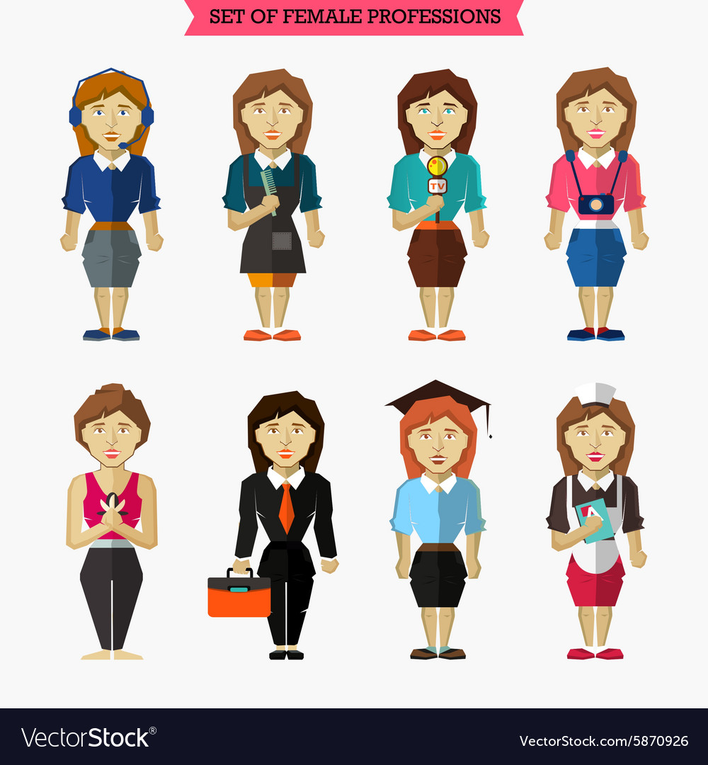 Set of female professions meteorologist vector