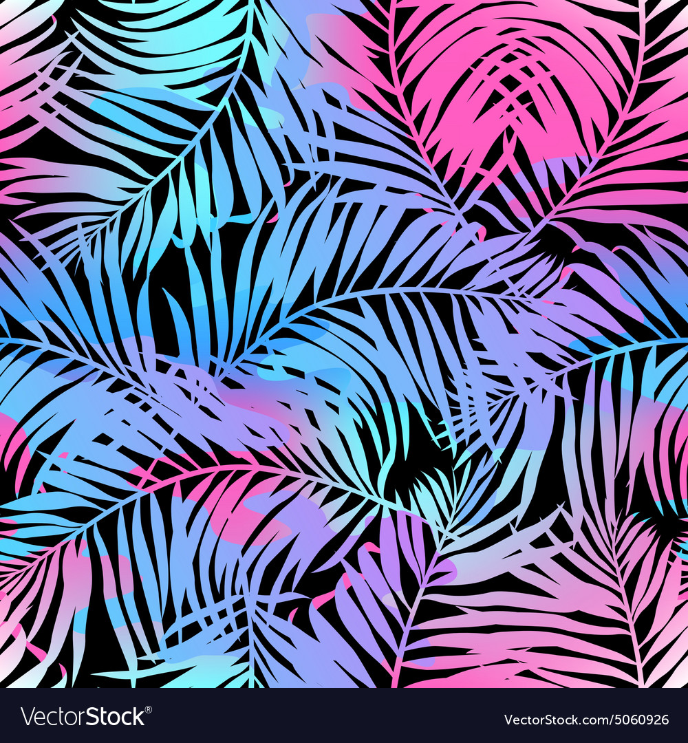 Tropical palms seamless pattern in colours vector