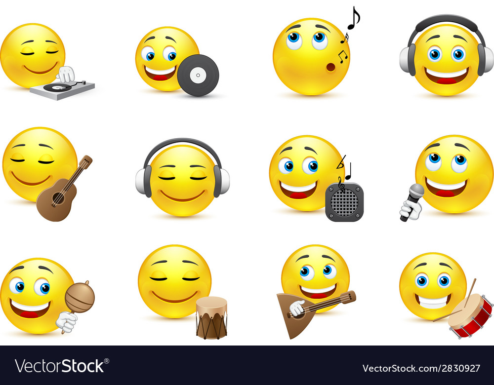 Emoticons depicted with various musical vector