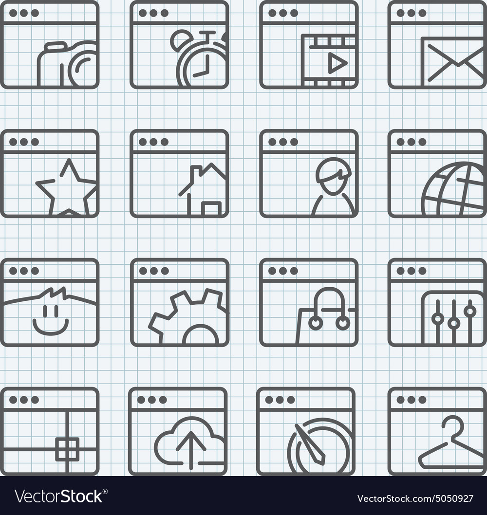 Line icons set vector