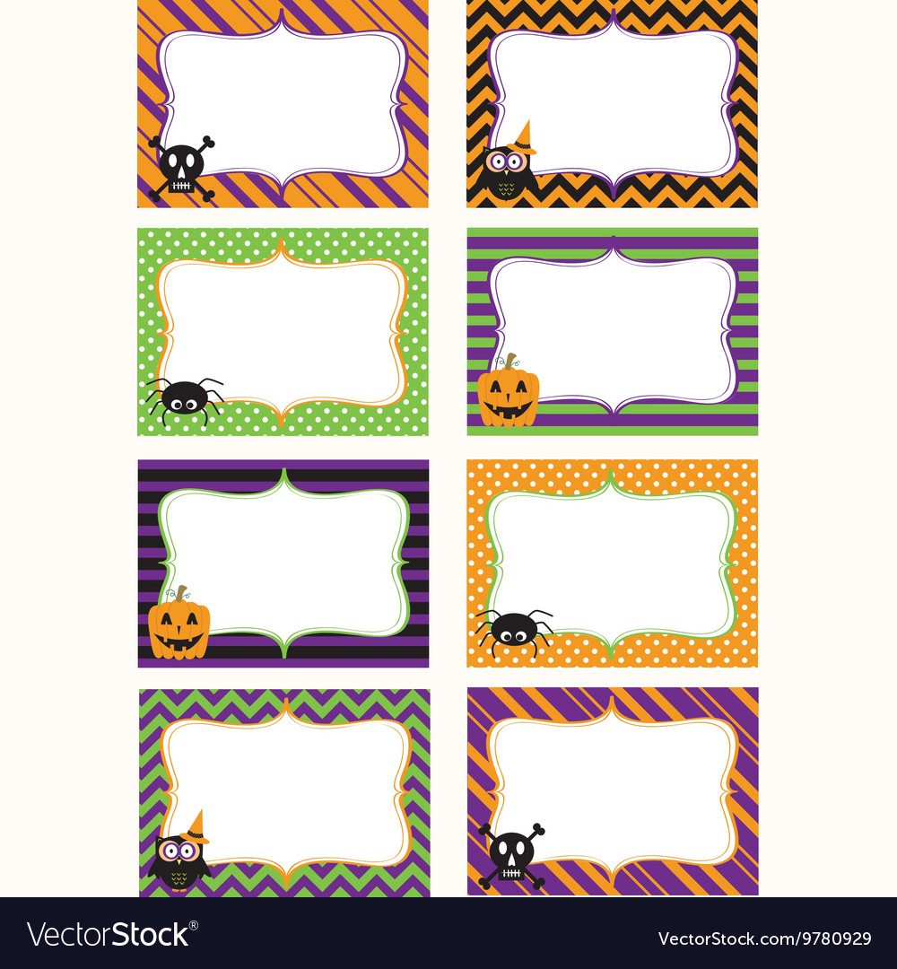 Halloween printable labels set vector