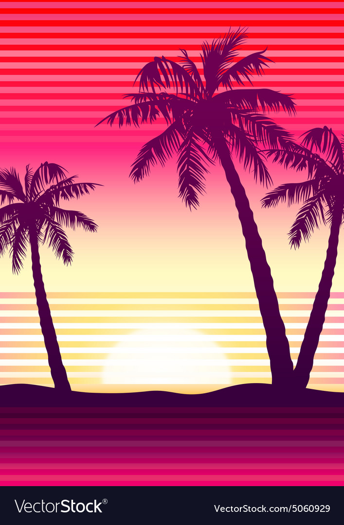 Palms at sunset vector
