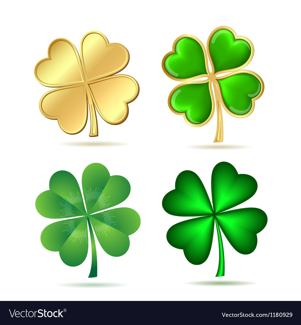 Set of fourleaf clovers isolated on white vector