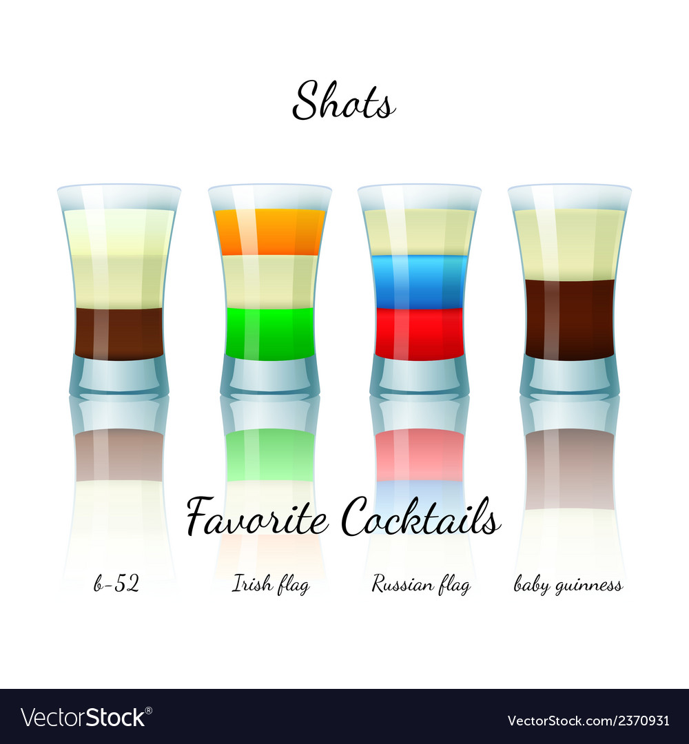 Favorite shot cocktails set isolated vector