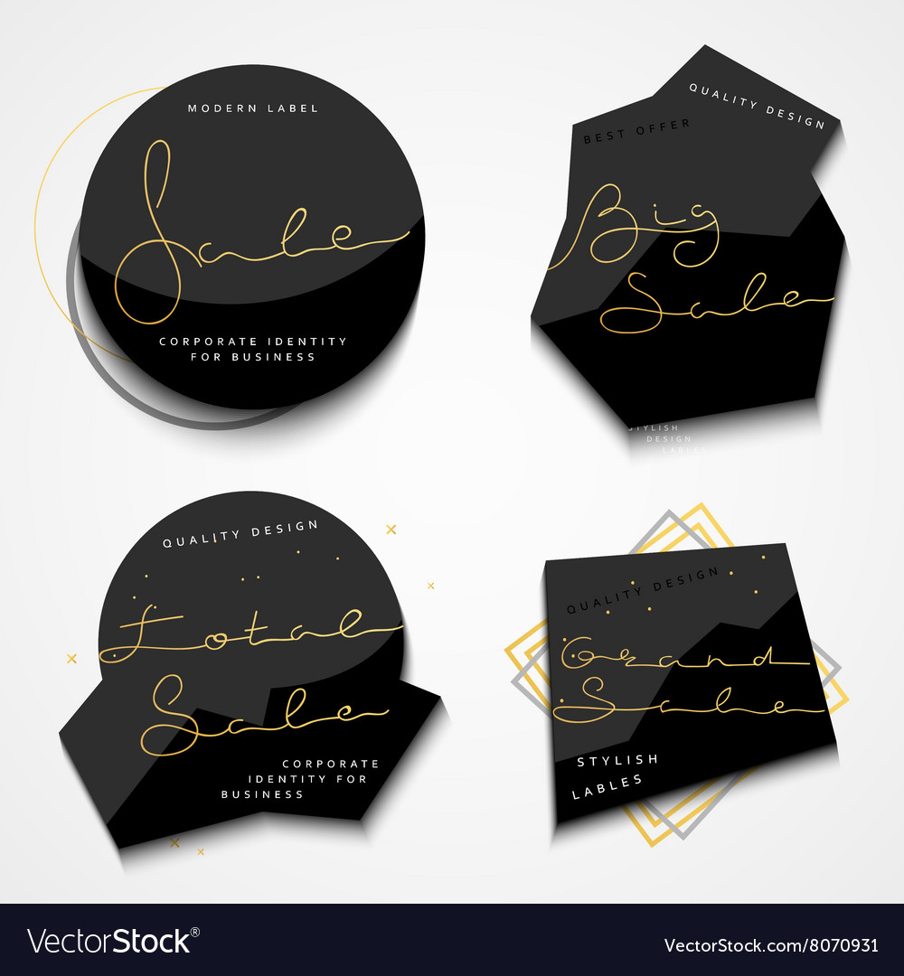 Set 4 black label with gold text for store sales vector