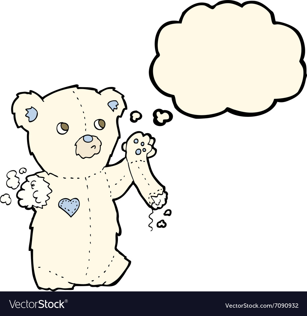 Cartoon teddy polar bear with torn arm with vector