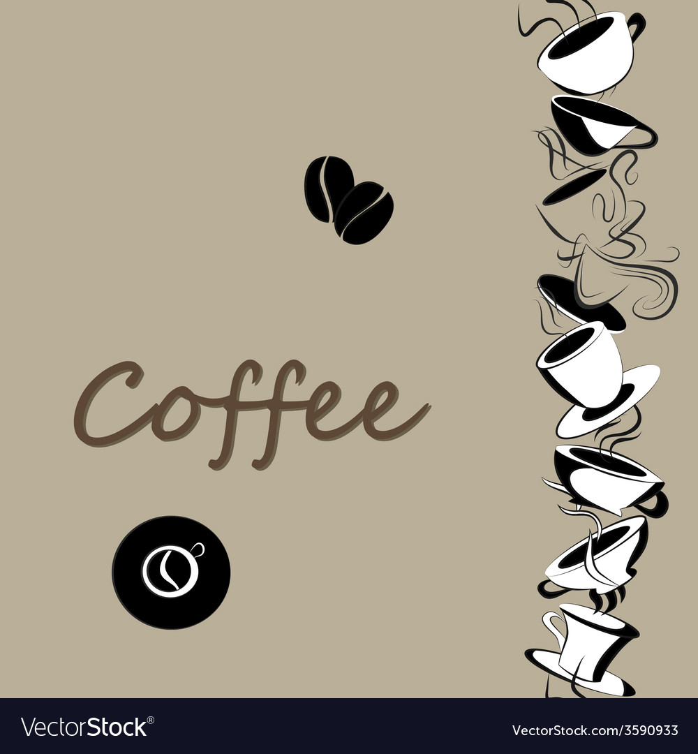 Background with coffe cups vector