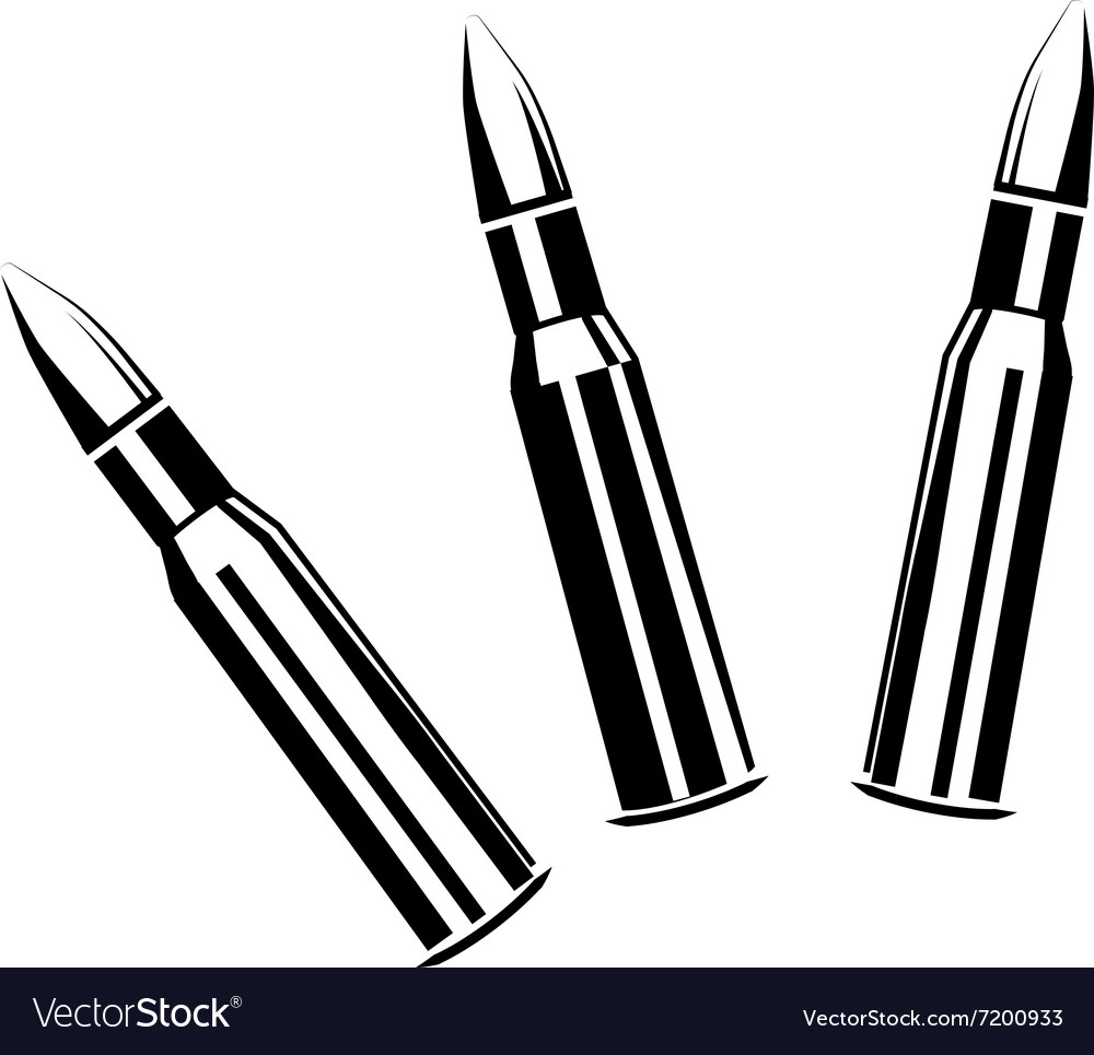 Set of bullets for rifles vector
