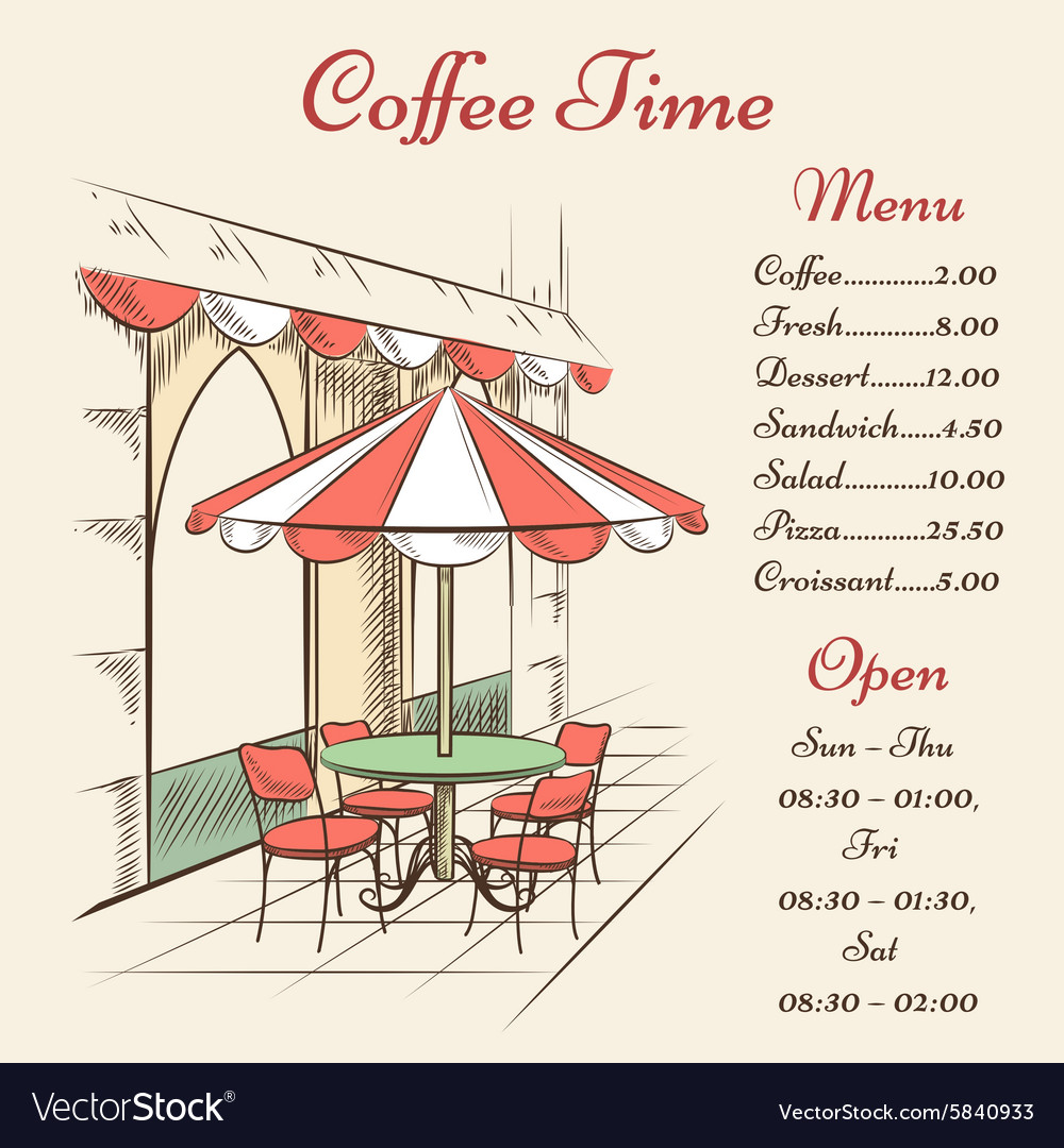 Street cafe poster vector