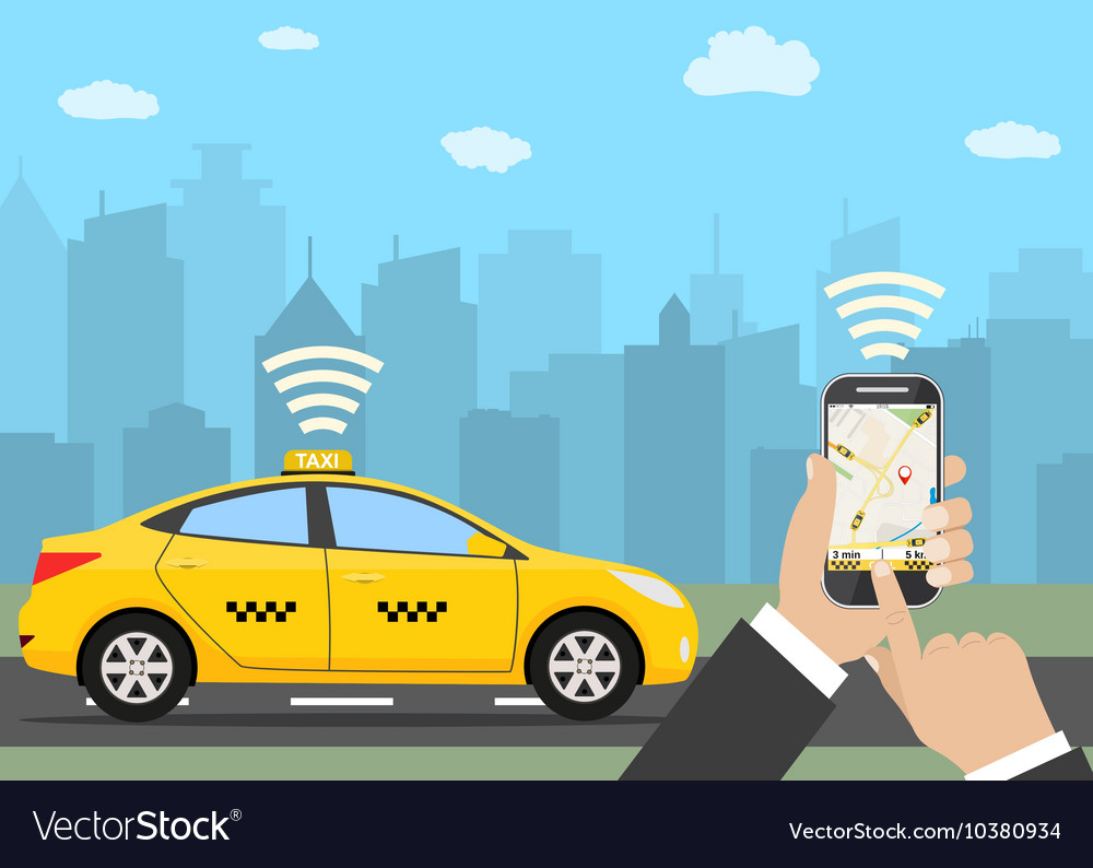 Hands with smartphone and taxi application vector