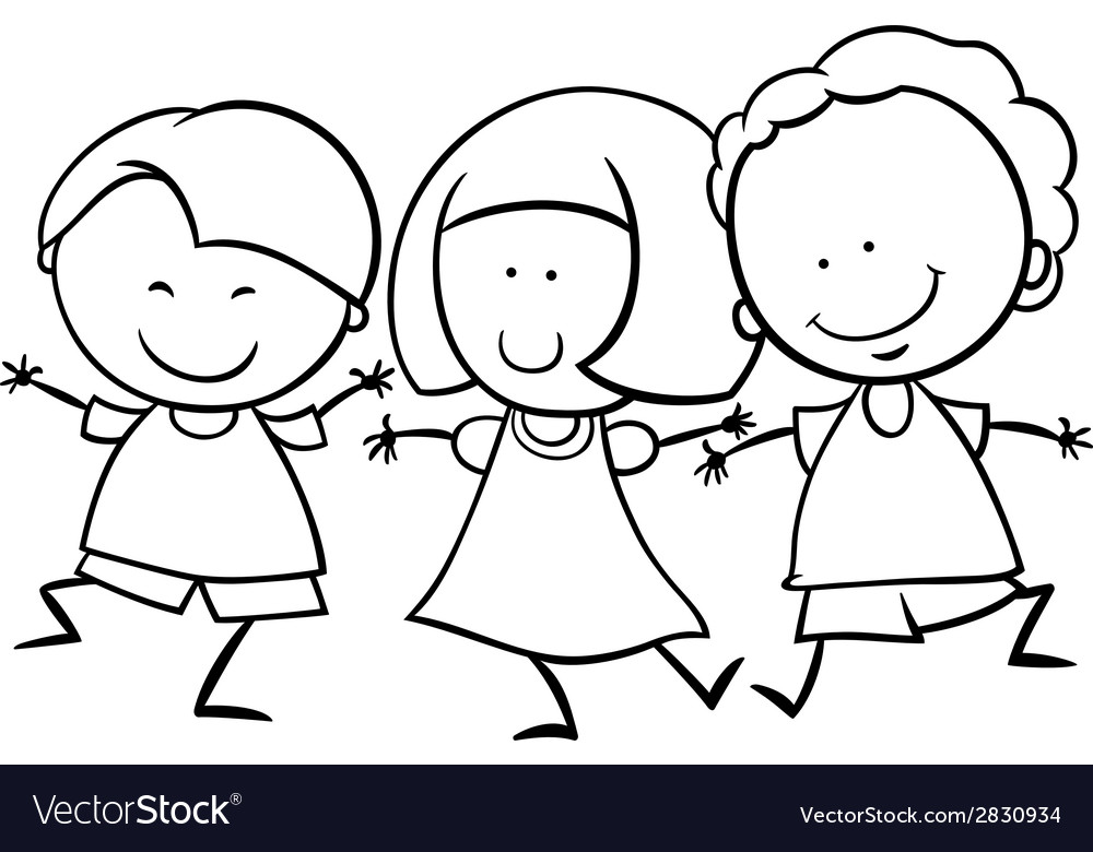 Multicultural children coloring page vector