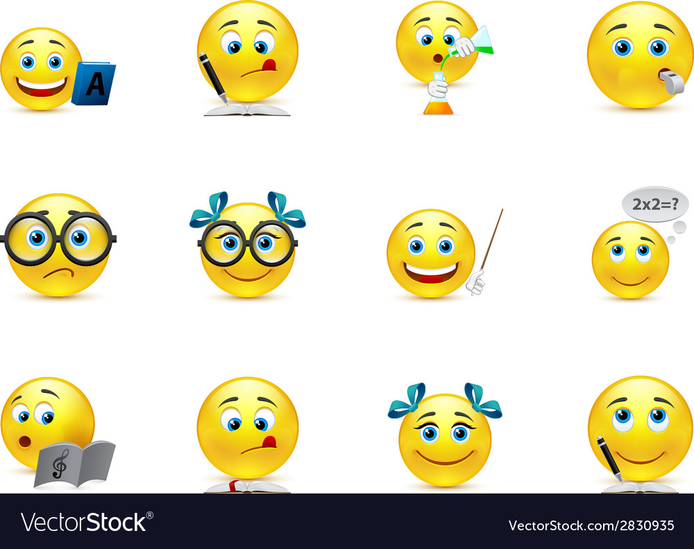 Funny smiley collection on the topic teaching and vector