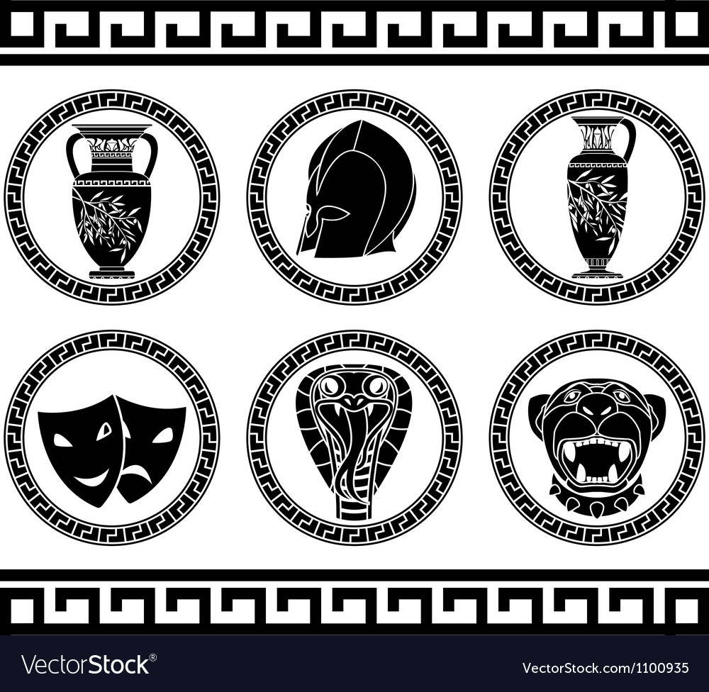 Hellenic buttons stencil third variant vector