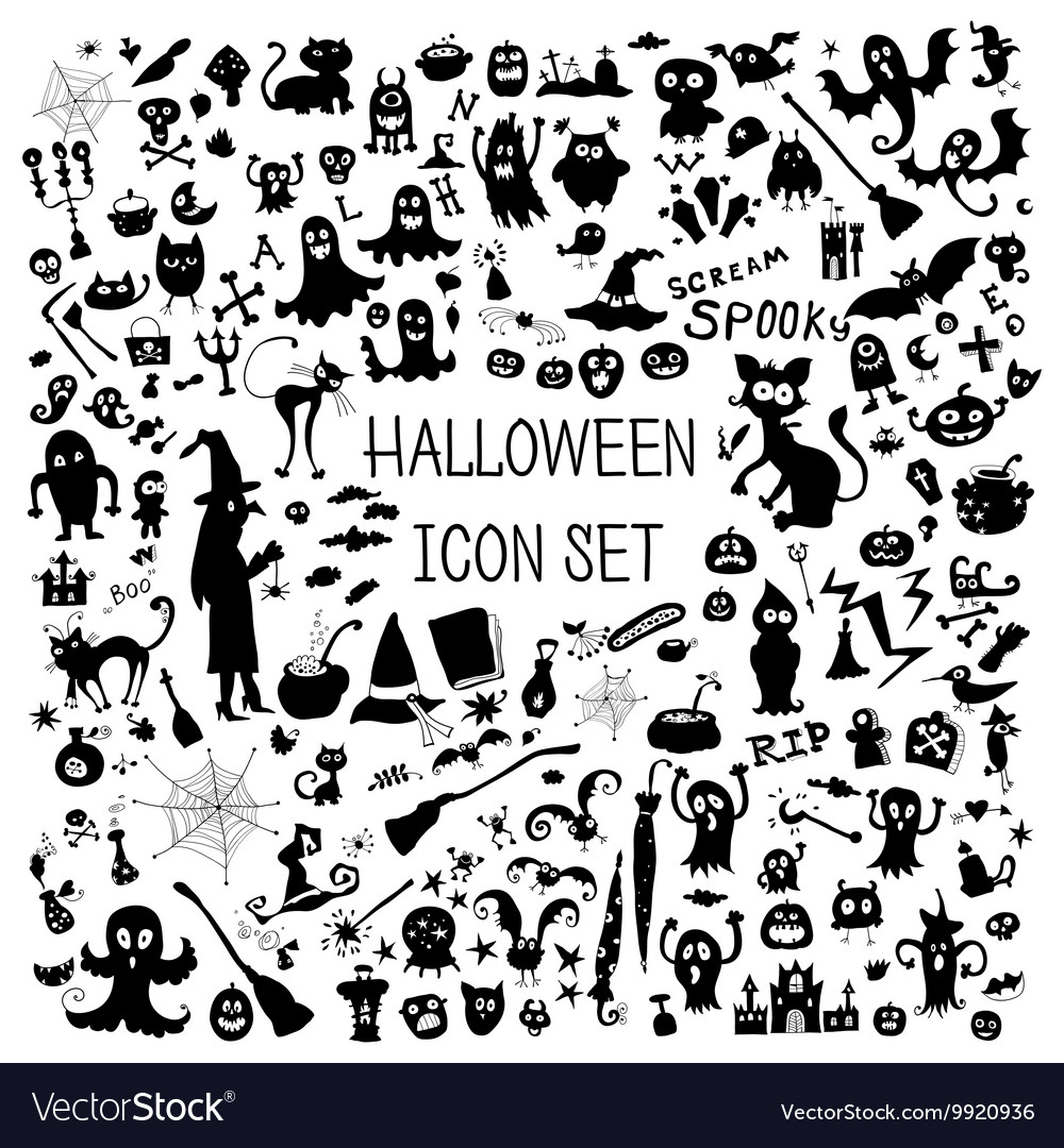 Set of cute silhouettes for halloween vector