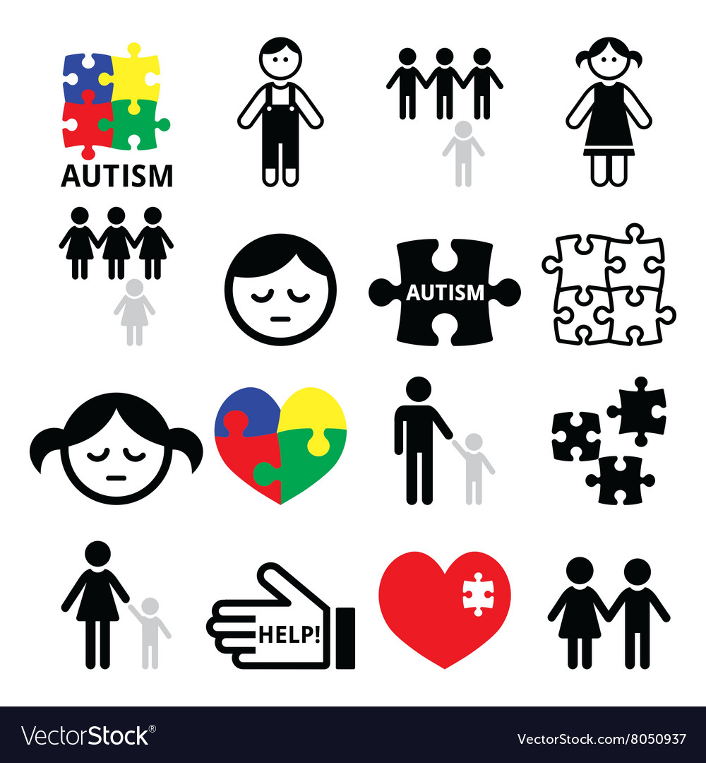 Autism awareness puzzles autistic children icons vector