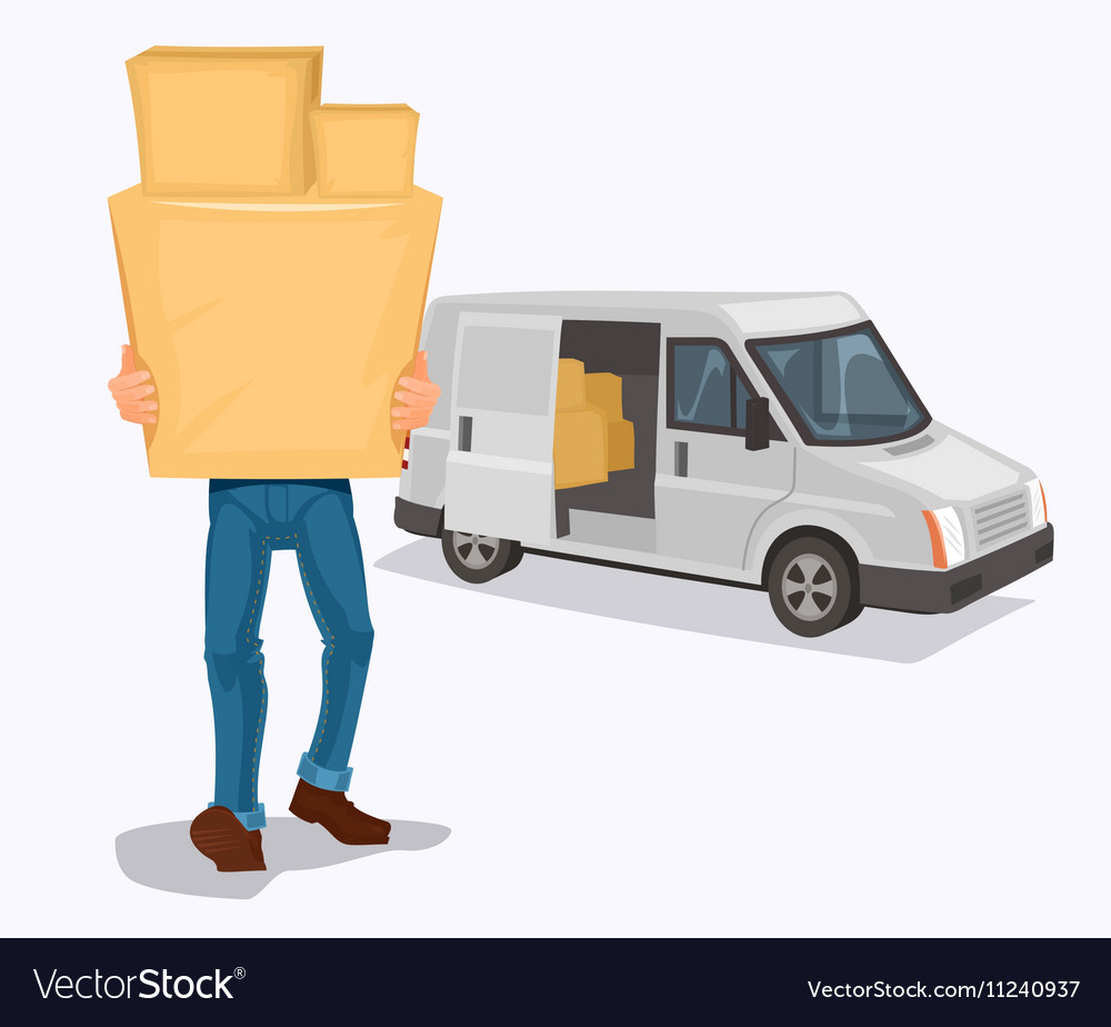 Man carries a cardboard box vector