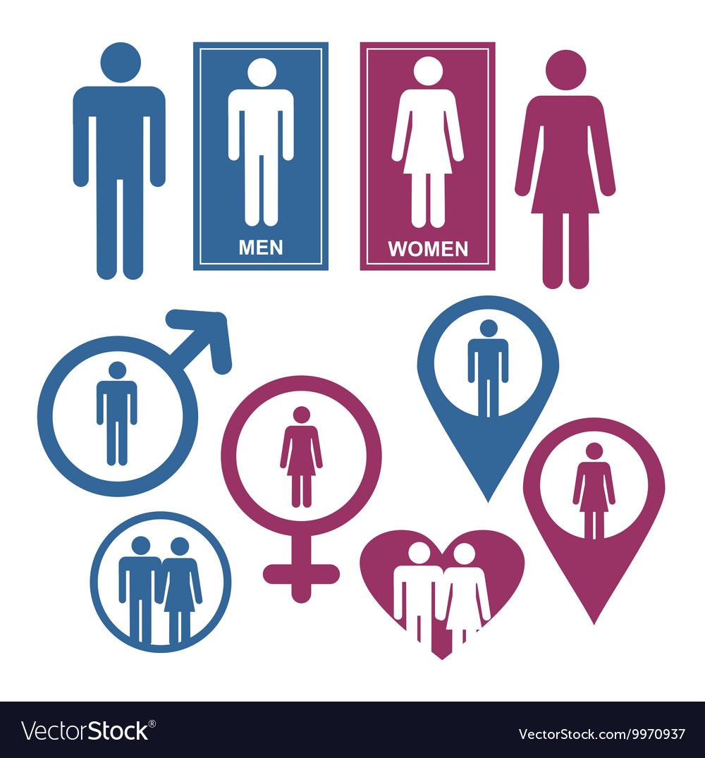 Men and women gender signs vector