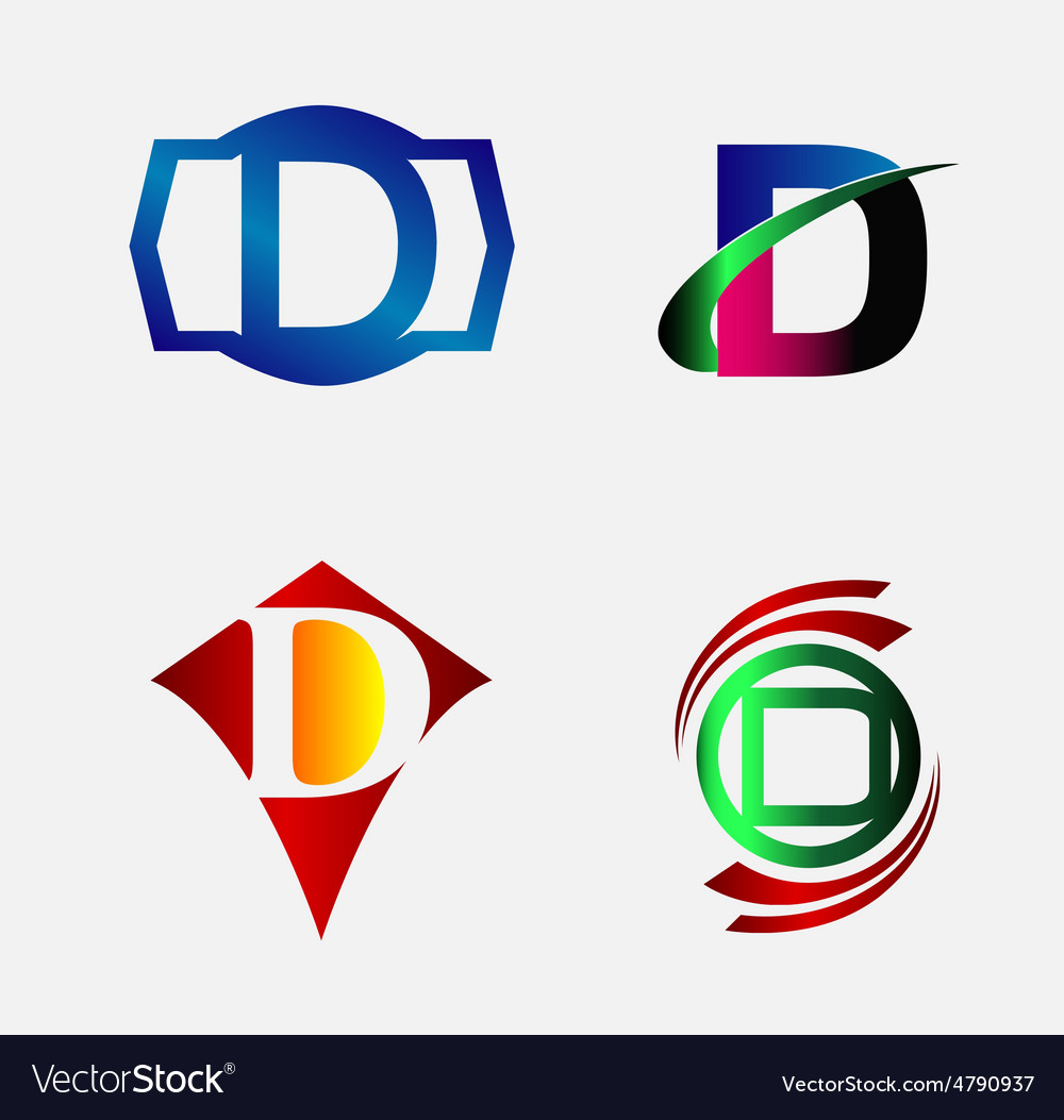 Set of logo d letter company vector