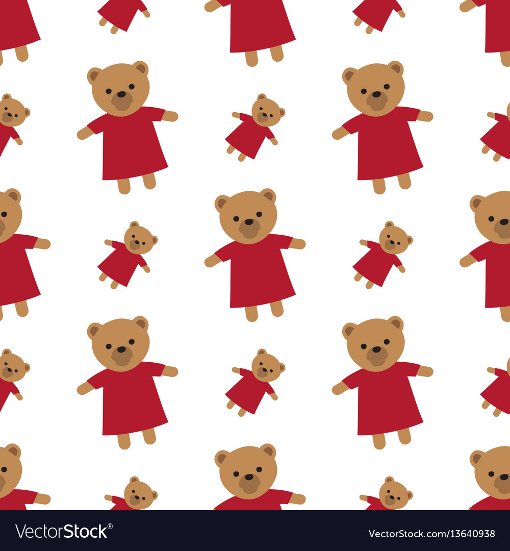 Endless white texture with brown teddy bears vector