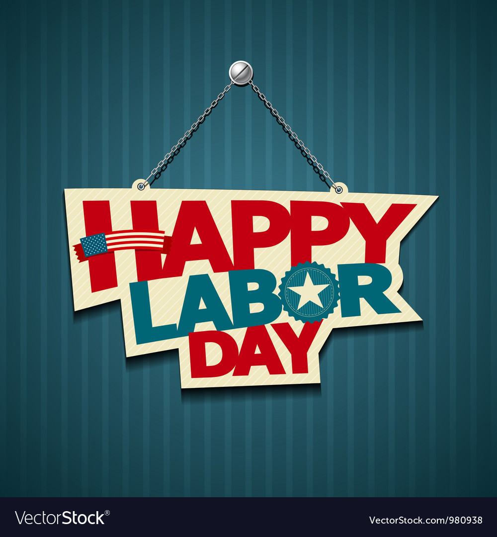 Happy labor day american text signs vector