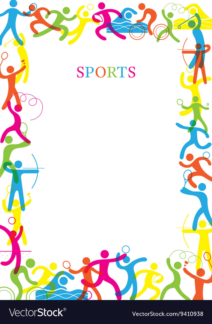 Sports colorful frame vector