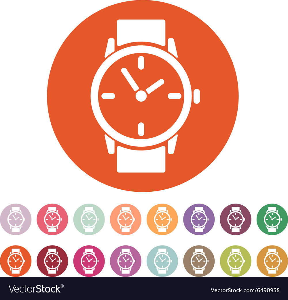 Watch icon clock and wristwatch timer time vector