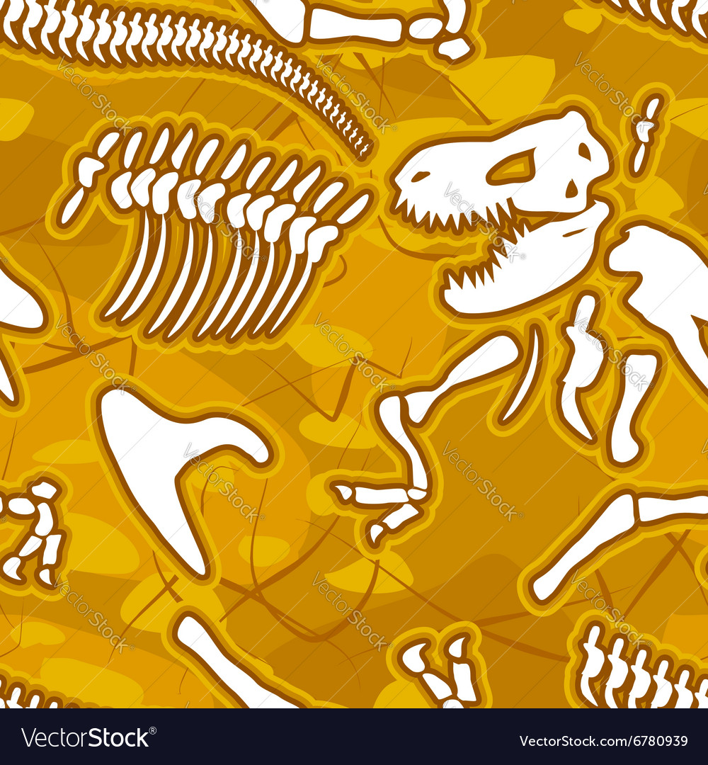 Dinosaur bones seamless background pattern of vector