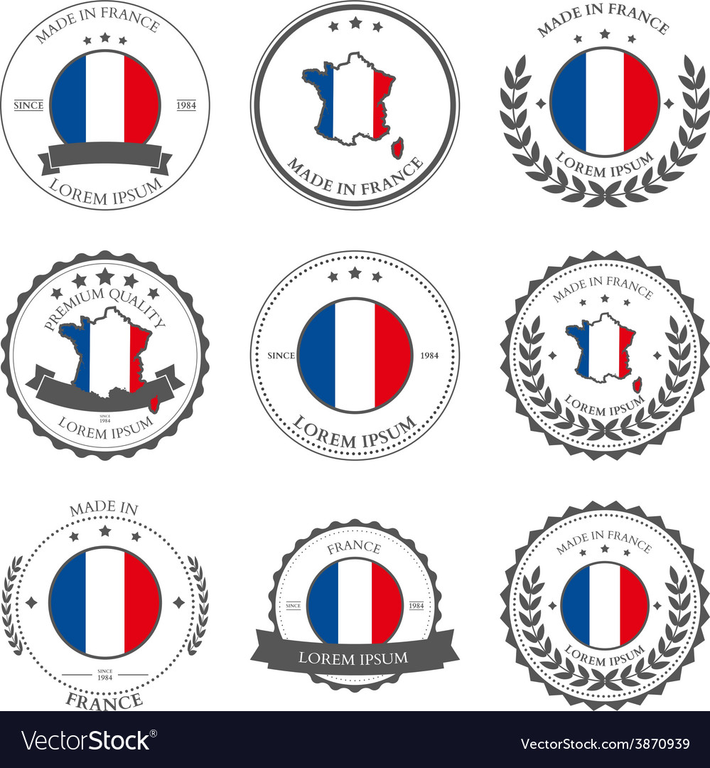 Made in france seals badges vector