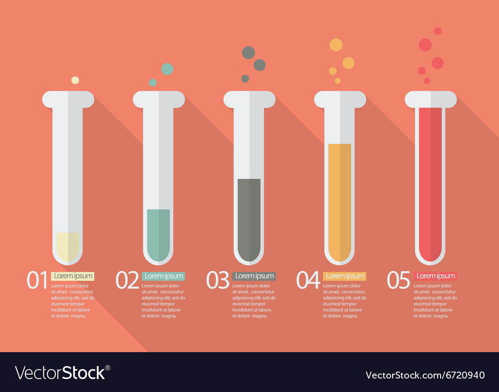 Chemistry bulb bar graph infographic vector