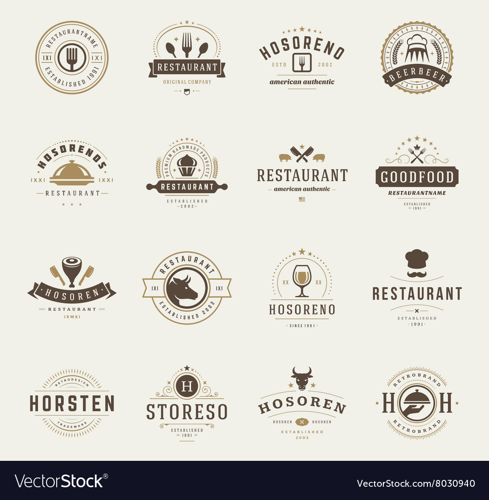 Vintage restaurant logos design templates set vector