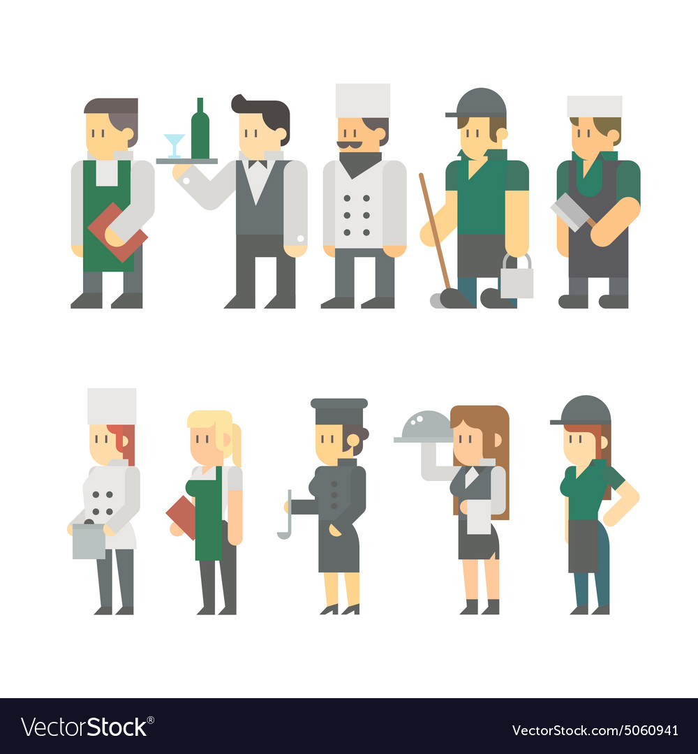 Flat design of restaurant worker set vector