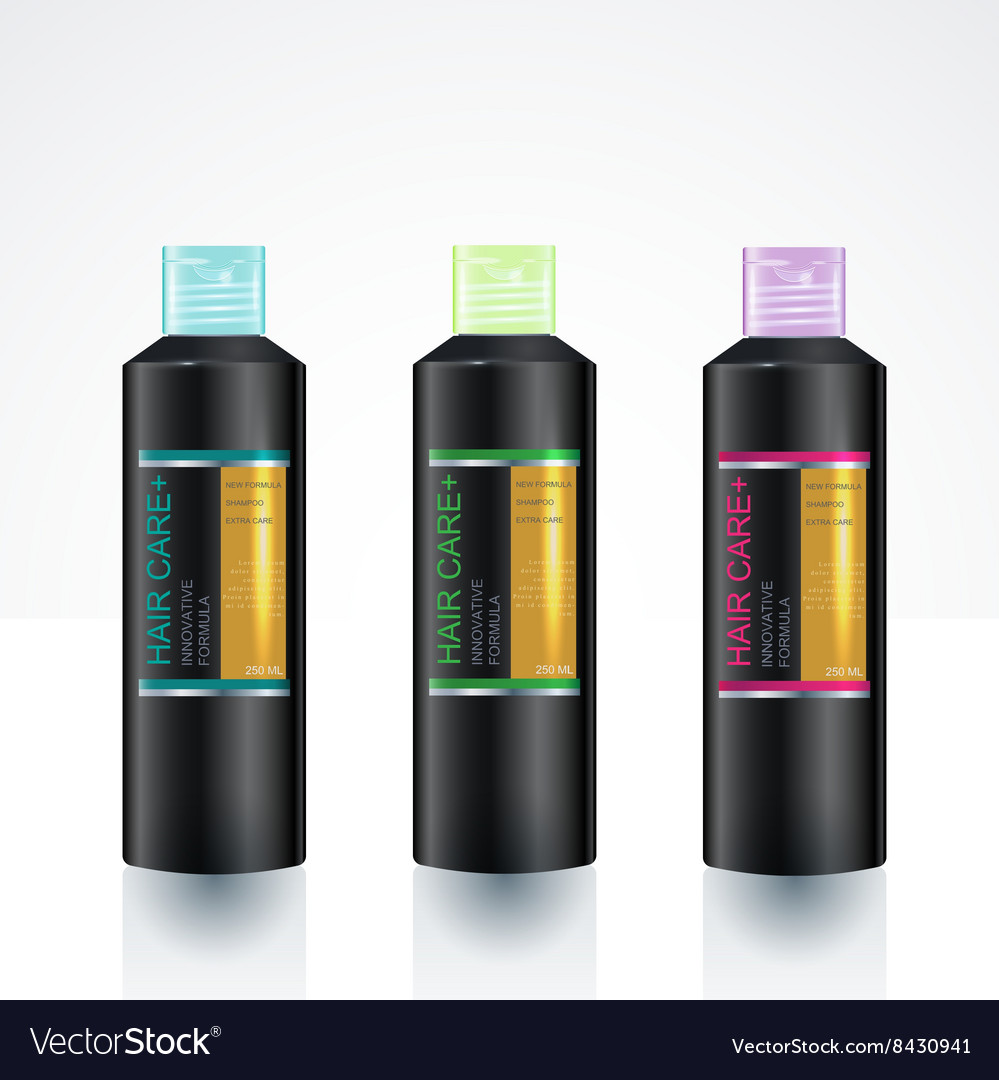 Packaging design template for body care bottle vector
