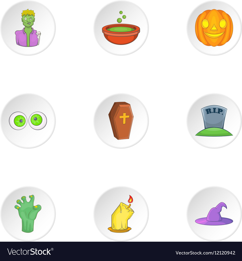 Halloween icons set cartoon style vector