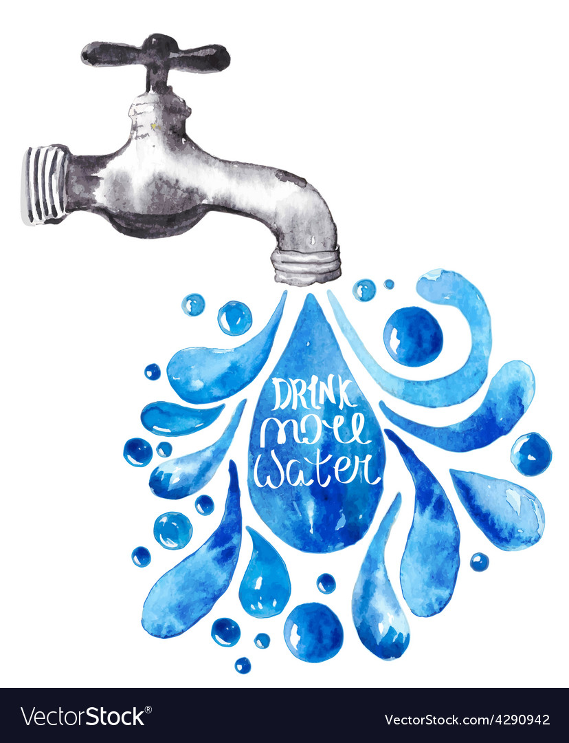 Watercolor faucet with water drops vector