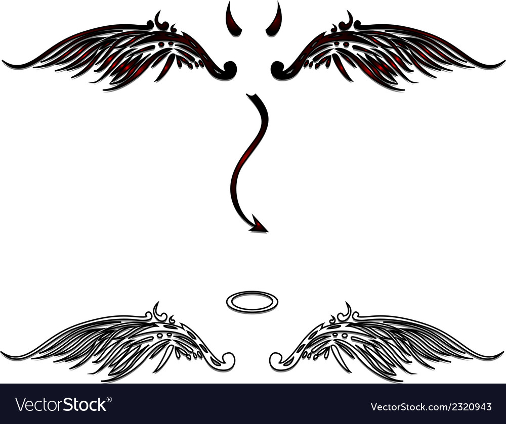 Angel and devil wings vector