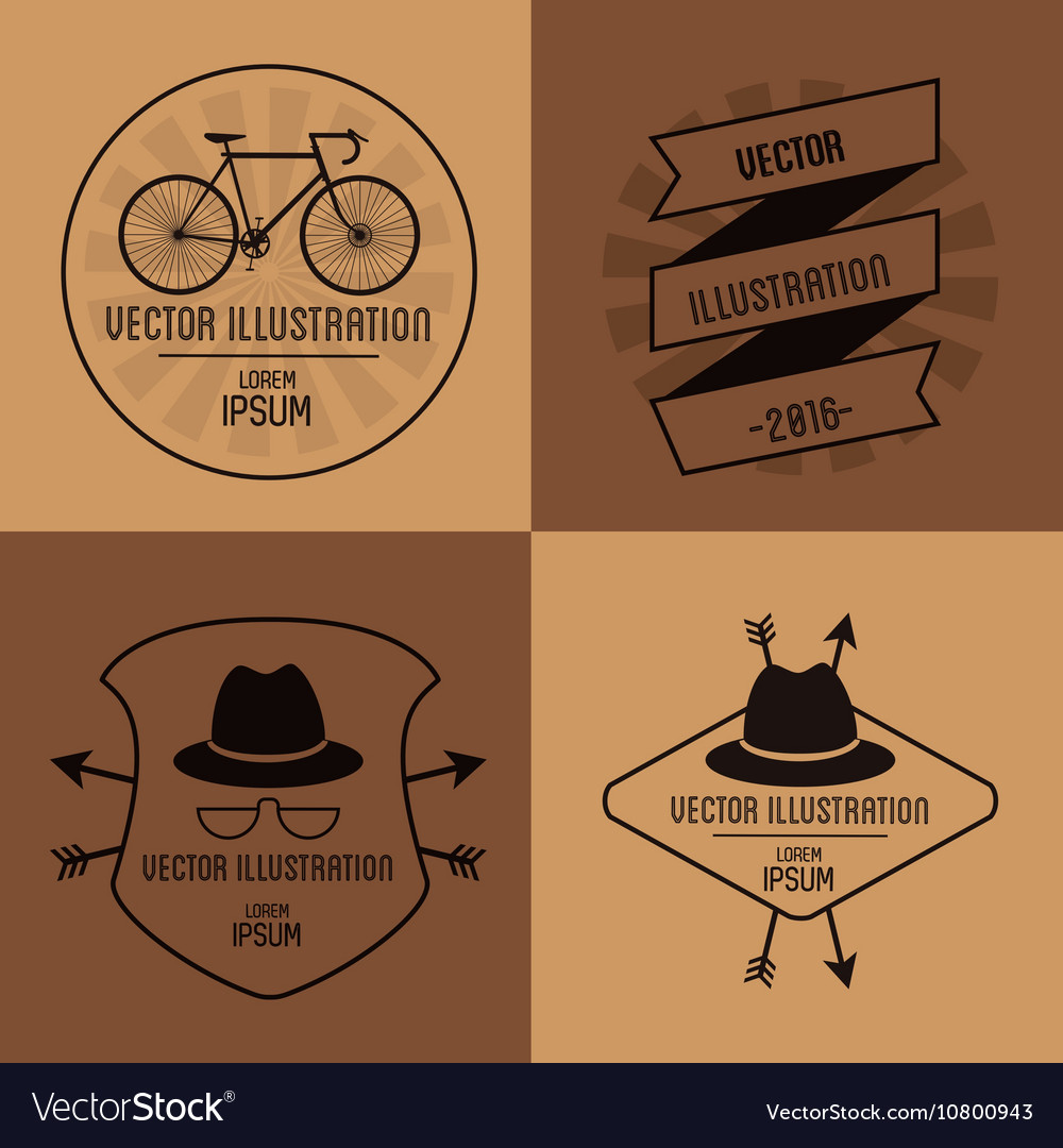 Hipster related icons emblems image vector